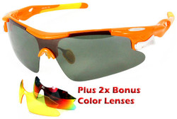 Sports Wrap-Around Sunglasses D548 Orange - UV400