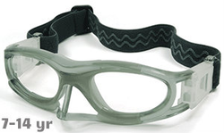 Kids Sports Goggles BL012 Gray / White with Nose Protector (Prescription/Rx Lenses Available)