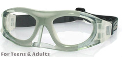 Adult Sports Goggles BL013 Grey / White with Nose Protector (Prescription/Rx Lenses Available)