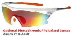 F Morys MS038 Rx-Able Sports Sunglasses with Orange Mirrored Lenses