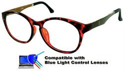Burlington (Red) Glasses: Compatible with Optional Blue Light Control Lenses