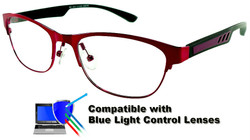 Marissa - Red Glasses: Compatible with Optional Blue Light Control Lenses