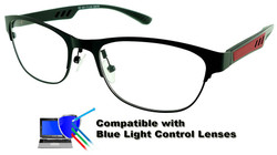 Marissa - Black/Red Glasses: Compatible with Optional Blue Light Control Lenses