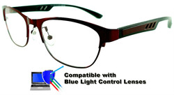 Marissa - Dark Red/Black Glasses: Compatible with Optional Blue Light Control Lenses