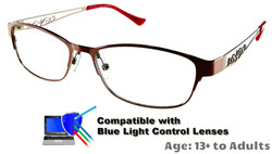 Rosemount - Dark Red Glasses: Compatible with Optional Blue Light Control Lenses