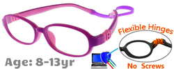 Kids Glasses G213 Purple Pink: Flexible Hinges No Screws
