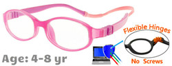 Kids Glasses G7002 Pink: Flexible Hinges with No Screws