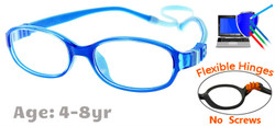 Kids Glasses G7003 Blue: Flexible Hinges with No Metal Screws