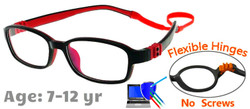 Kids Glasses G7007 Black+Red Flexible Hinges with No Screws