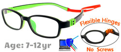 Kids Glasses G7007 Black/Green: Flexible Hinges with No Metal Screws