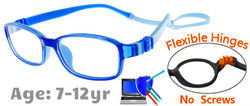 Kids Glasses G7007 Blue: Flexible Hinges with No Metal Screws