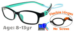 Kids Glasses G7008 Black/Aqua: Fully Bendable Hinges with No Metal Screws