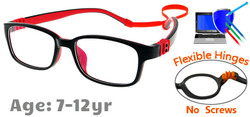 Kids Glasses G7009C1 Black/Red: Flexible Hinges with No Screws