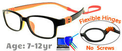 Kids Glasses G7009C9 Black/Orange: Flexible Hinges with No Screws