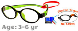 Kids Glasses G207 Black Green: Flexible Hinges No Screws