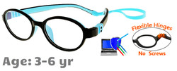 Kids Glasses G203 Black Blue: Flexible Hinges No Screws