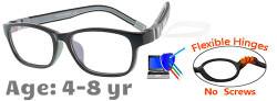 Kids Glasses G6010C1 Black/Grey: Flexible Hinges with No Screws