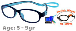 [5-9 yrs] Kids Glasses - Flexible G7005C30 Dark Blue 47 Size + Removable Strap & Ear Hooks