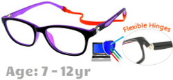 Kids Glasses TR5008 Black Purple: Flexible Hinges