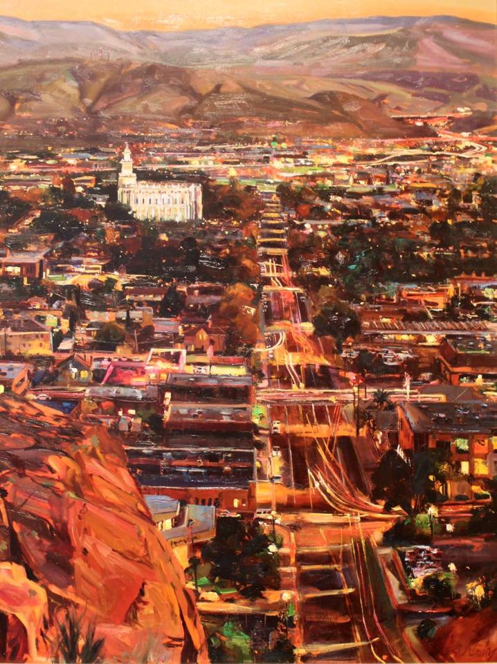 Saint George Utah Temple Night Scene painting by Jeremy Winborg