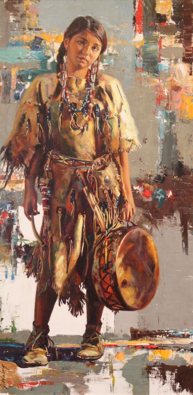 Native American girl resting drummer jeremy winborg oil painting