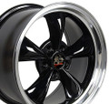 "17"" Fits Ford® Mustang® Bullitt Wheels Black with a Fine Machined Lip Set of 4 17x8"" Rims"