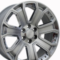 "22"" GMC Denali Style Wheels - Yukon Sierra Cadillac Fits Chevrolet - Escalade Chevy Tahoe Silverado - Hyper Black with Chrome Inserts Set 4 of 22x9"" Rims Hollander# 5665"