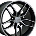 "17"" Fits Chevrolet Corvette Stingray Matte Black with Machined Face Wheels Set of 4 17x9.5"" Rims"