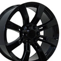 "22"" Fits Cadillac- Escalade Chevy GMC Tahoe Silverado Sierra Yukon Replica Wheel Rim - Gloss Black Set of 4 22x9  - Hollander # 5409"