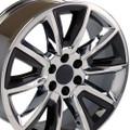 "Set of 4 22"" Fits Chevrolet- Tahoe Cadillac GMC Silverado Sierra Yukon Replica Wheels Rims - PVD Chrome w/Black Inserts 22x9  - Hollander # 5696"