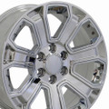 "22"" GMC Denali Style Wheels Yukon Sierra Cadillac Fits Chevrolet Escalade Chevy Tahoe Silverado Triple Chrome with Chrome Inserts Set 4 22x9"" Rims Hollander# 5665"