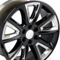 "20"" Fits GMC Denali Style Wheels Chevy Tahoe Cadillac  Silverado Sierra Yukon Set of 4 Rims - Black w/Chrome Inserts 20x8.5  - Hollander # 5696"