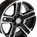 "22"" Fits Chevrolet- 2015 Silverado Tahoe CK160 Wheels Replica GMC Rims Gloss Black with Machined Face 22x9  - Hollander # 5664"
