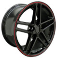 "17"" Fits Camaro Corvette C6 Z06 Wheel Black with Red Band 17x9.5"" Rim OE Spec"