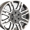 "20"" Fits Ford F 150 Expedition Lincoln Navigator Replica Wheels Rims Gunmetal w/Machine Face Set of 4 20x8.5"