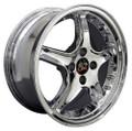 "17"" Fits Ford® - Mustang® Cobra R 4 Lug Wheels with Rivets Chrome 17x8 Rim"