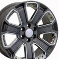 "20"" GMC Denali Style Wheels Yukon Sierra Cadillac Fits Chevrolet Escalade Chevy Tahoe Silverado - Gunmetal with Chrome Inserts Set of 4 20x8.5"" Rims Hollander# 5665"