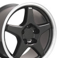 "17"" Fits Chevrolet Corvette ZR1 Black Machined lip Staggered Wheels Set of 4 17x9.5/11"" Rims"