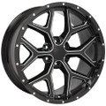 "22"" 2015 CK156 Chevy Silverado GMC Sierra 1500 Cadillac Milled Edge Gloss Black Deep Dish 22x9.5"" Rims"