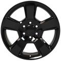 """20"""" Fits Chevy Tahoe Wheels GMC Cadillac Silverado Sierra Yukon Set of 4 Gloss Black 20x9"""" Rims"""