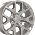 "20"" Fits Chevy 1500 GMC Sierra Wheels Silverado Rims Polished Set of 4 20x9""  Hollander 5656"