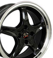 "17"" Fits Mustang® Cobra R 4 Lug Deep Dish Wheel Black 17x8"