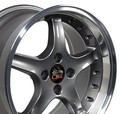 "17"" Fits Mustang® Cobra R 4 Lug Deep Dish Wheel Anthracite / Rivets 17x9"