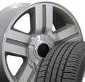 """20"""" Fits Chevrolet - Texas Replica Wheels and Tires Silver 20x8.5"""