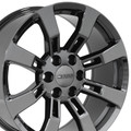 "20"" Fits Cadillac Escalade GMC Suburban Tahoe  Replica Wheels Rims Black Chrome Set of 4 20x8.5 - Hollander 5409"