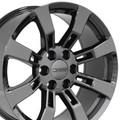 "4 Set 20"" Fits Cadillac Escalade GMC Suburban Tahoe  Replica Wheels Rims Black Chrome - Hollander 5409"