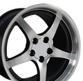"18"" Fits Corvette C5 Camaro Deep Dish Wheel Rim Black w/Machine Face 18x10.5"