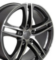 "Set of 4 17"" Fits Audi - R8 Wheel - Gunmetal w/ Machined Face 17x7.5 Rims"