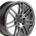 "18"" Fits Audi RS4 Wheel Hyper Silver Set of 4 18x8"" Rims 35mm offset"