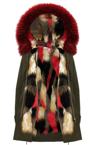 Khaki Hooded Parka Lined with Multi Coloured Faux Fur Buy Fashion ...